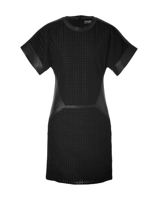 Salvatore Ferragamo   Женское Чёрный Embroidered Quilt Cotton/Leather Dress Gr. 36