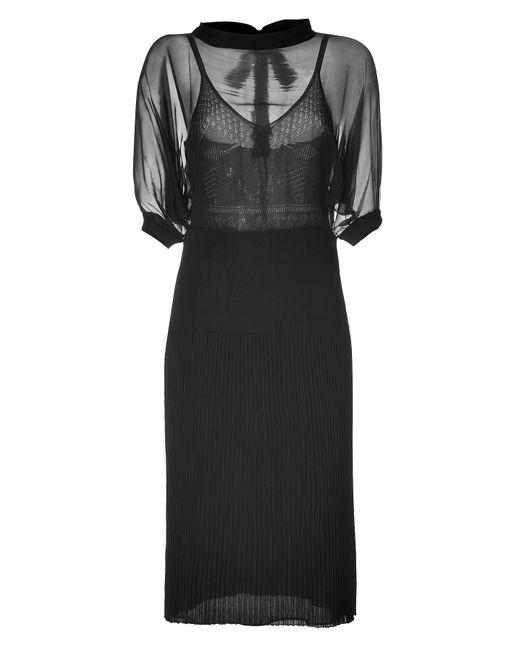 Valentino   Женское Чёрный Silk Jersey Dress In Black Gr. L