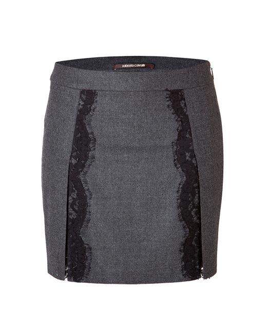 Roberto Cavalli   Женское Серый Stretch Wool Mini-Skirt With Lace In Dark