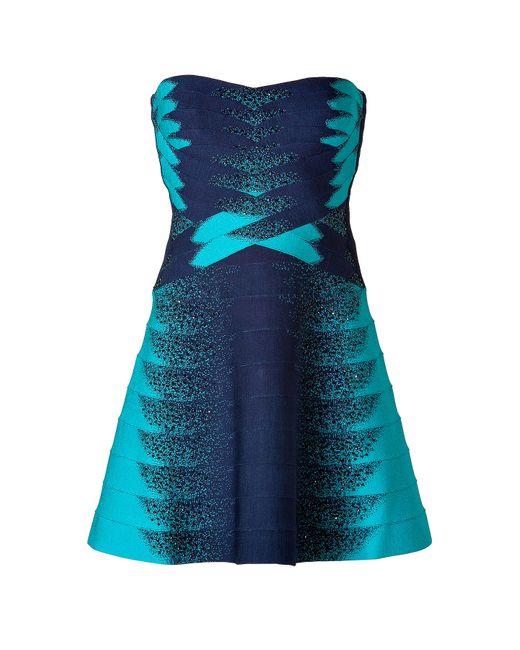 Hervé Léger   Женское Синий Strapless Dress Gr. Xs