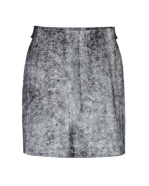 3.1 Phillip Lim | Женское Серый Cracked Leather A-Line Skirt In White Gr.