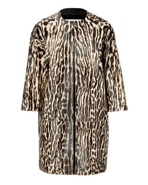 Valentino   Чёрный Haircalf Animal Print Coat Gr. 40