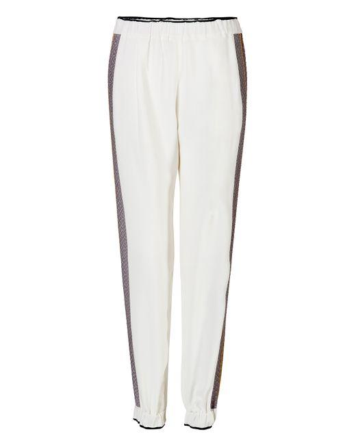 Fendi | Женское Белый Silk Blend Pants With Printed Trim Gr.