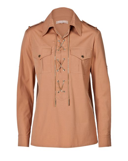 Michael Kors Collection | Женское Camel Stretch Cotton Laced Front Shirt Gr. 8