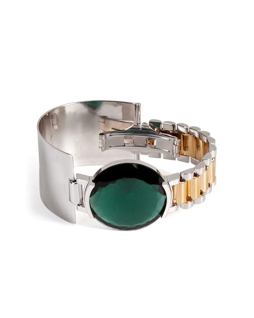 Delfina Delettrez | Женское Зелёный Watch Bangle With Green Quartz Gr. One
