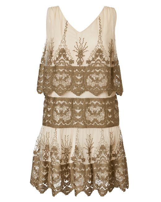 Anna Sui   Женское Tiered Embroidered Mini-Dress Gr. 32