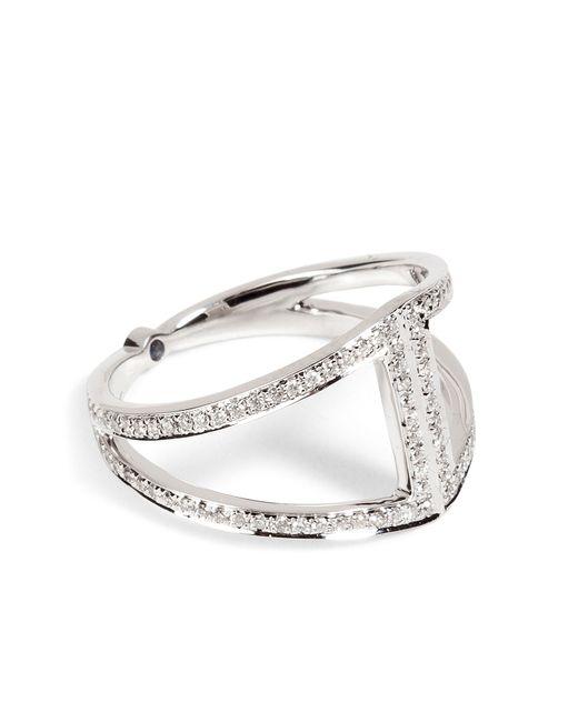 Noor Fares   Женское Серебристый 18k Gold Rhombus Ring With White Diamonds
