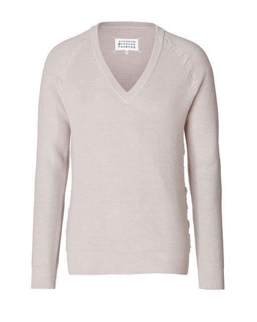 Maison Margiela   Мужское Mauve Wool V-Neck Pullover Gr. S