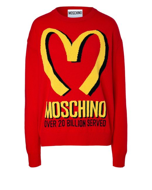 Moschino | Женское Красный Wool-Cashmere Fast Food Pullover Gr. S