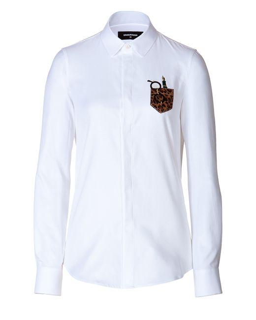 Dsquared2   Женское Белый Cotton Embroidered Pocket Shirt Gr. 34
