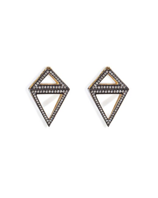 Noor Fares   Женское Многоцветный 18k Gold Octahedron Earrings With White Diamonds