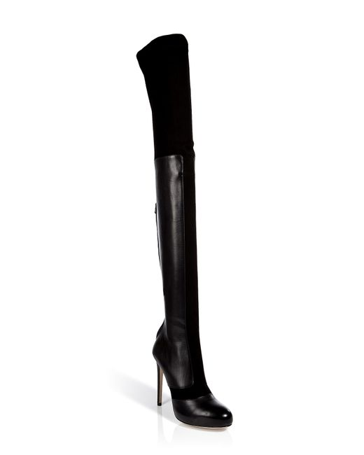 Paul Andrew   Женское Чёрный Queensberry Suede And Leather Thigh High Boots