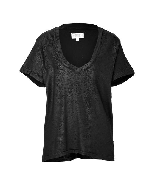 Current/Elliott   Женское Чёрный Cotton V-Neck T-Shirt Gr. 0