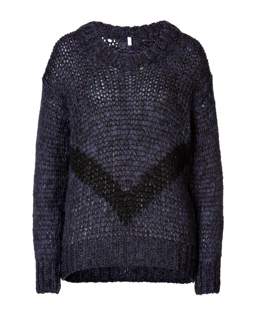 Faith Connexion | Женское Синий Chunky Knit Pullover In Navy With Black