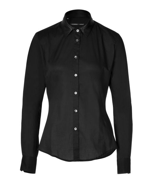 Clemens en August | Женское Cotton Shirt With Leather Collar Gr. 34