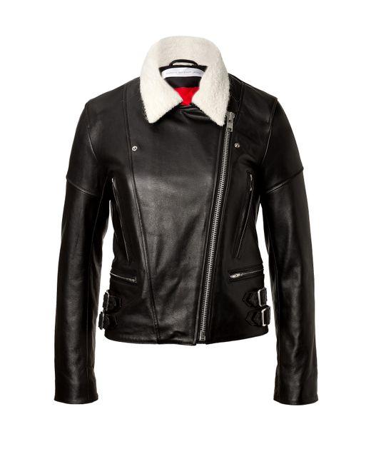 Victoria Beckham Denim | Женское Schwarz Leather Jacket With Knit Collar Gr. 8