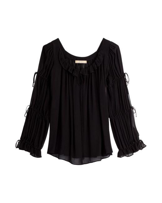 Michael Kors Collection | Женское Чёрный Crepe Peasant Blouse Gr. Us 8