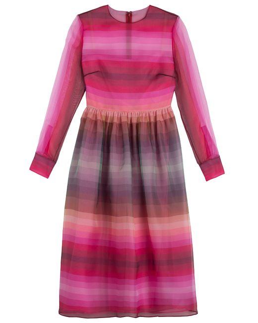 Valentino | Женское Розовый Striped Silk Organza Dress Gr. 34