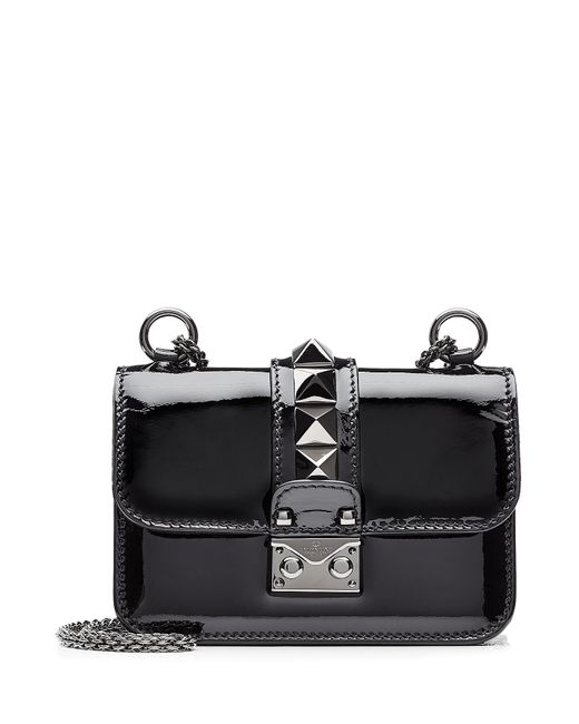 Valentino | Женское Чёрный Rockstud Patent Leather Lock Shoulder Bag Gr.