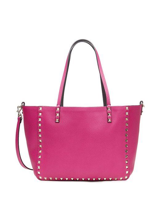 Valentino   Женское Розовый Reversible Leather Rockstud Tote With Shoulder Strap