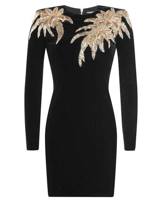 Balmain | Женское Чёрный Velvet Mini Dress With Applique Gr. 36