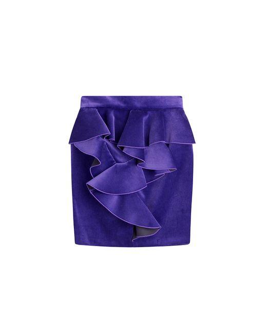 Balmain   Женское Фиолетовый Velvet Mini Skirt Gr. 36