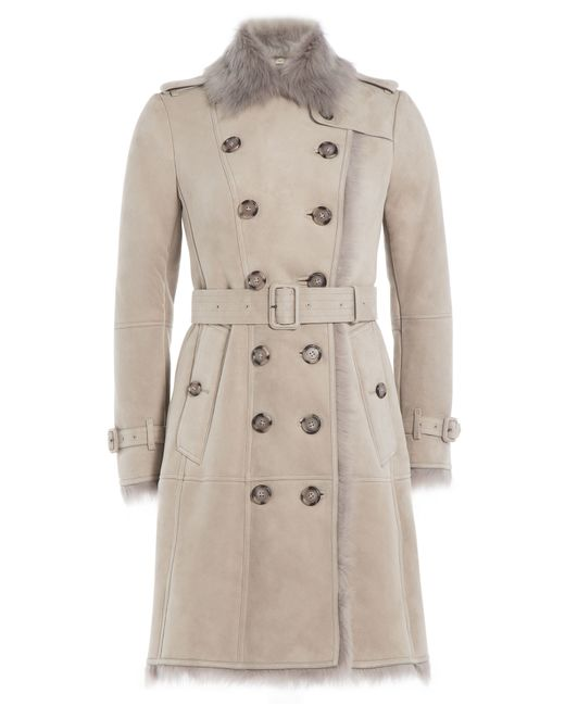 Burberry London   Серый Suede Trench Coat With Shearling Gr. 6
