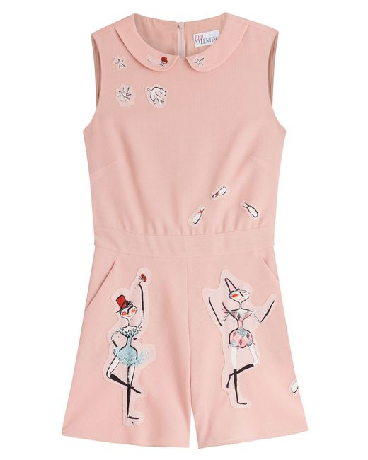 Red Valentino   Женское Rose Virgin Wool Jumpsuit With Appliques Gr. 38