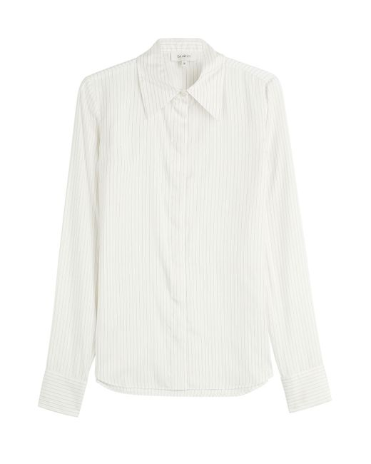 Isa Arfen | Женское Белый Pinstriped Silk Shirt Gr. Uk 8