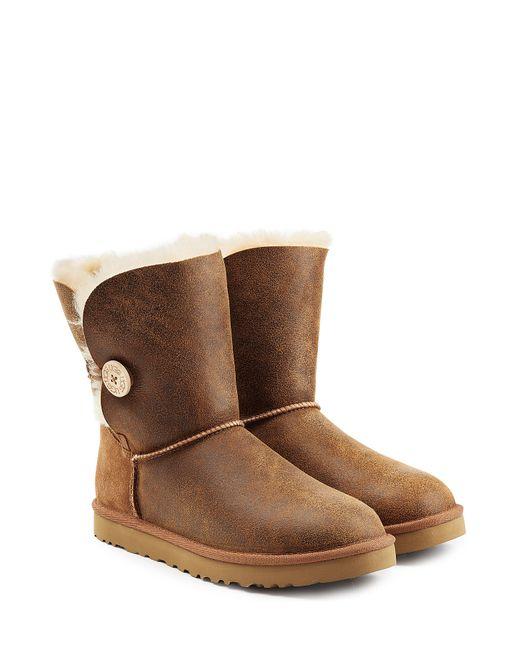 UGG Australia | Женское Коричневый Bailey Button Bomber Suede Boots Gr. Us