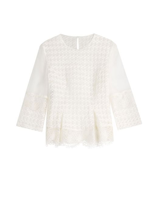 Alberta Ferretti | Женское Белый Embroidered Silk Blouse Gr. It 40