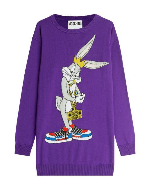 Moschino   Женское Фиолетовый Printed Wool Sweater Dress Gr. L
