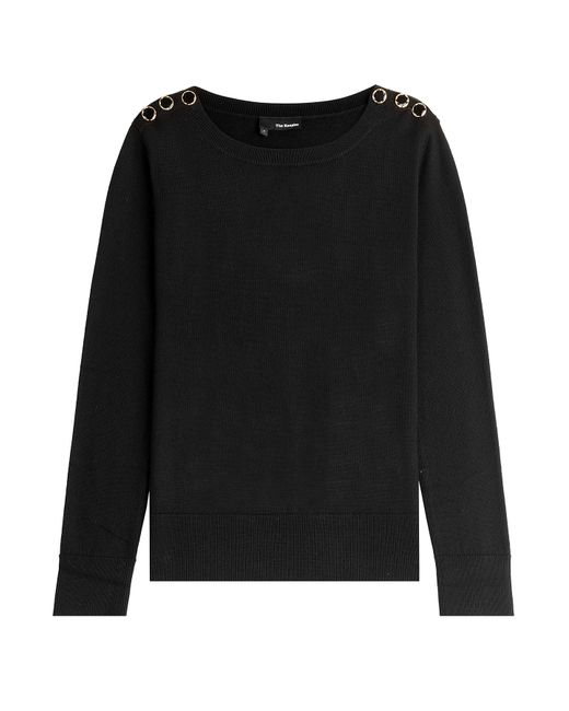 The Kooples | Женское Чёрный Merino Wool Pullover With Button Shoulders Gr.
