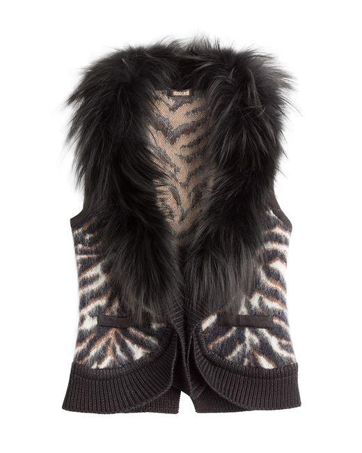Roberto Cavalli   Женское Коричневый Vest With Wool Mohair Silk And Fox
