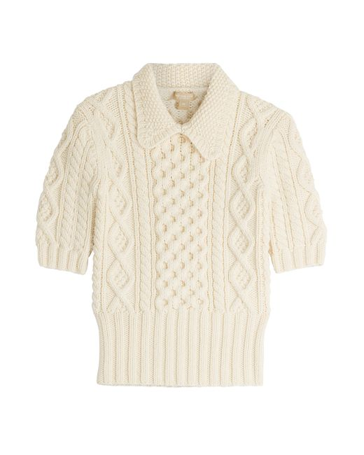 Michael Kors Collection | Женское Белый Merino Wool Cable Knit Collar Pullover Gr.