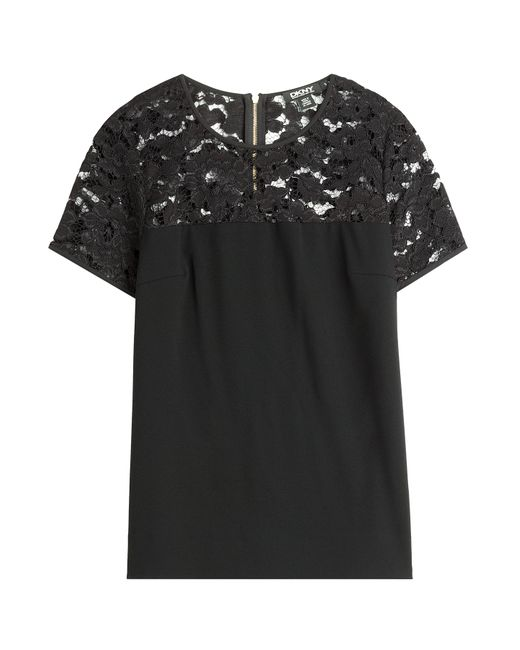 DKNY | Женское Чёрный Jersey Top With Lace Gr. L