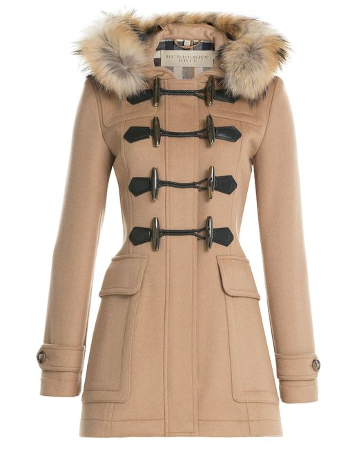 Burberry Brit | Коричневый Wool Duffle Coat With Fur Gr. 4