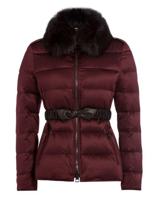 Burberry Brit | Женское Красный Down Jacket With Fox Fur Collar Gr.