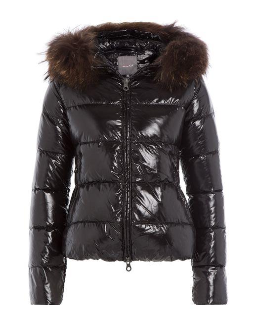 Duvetica   Женское Чёрный Down Jacket With Fur-Trimmed Hood Gr. It