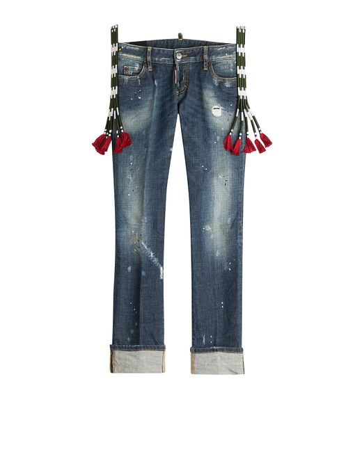Dsquared2 | Женское Синий Distressed Cropped Jeans With Embroidery Gr. It