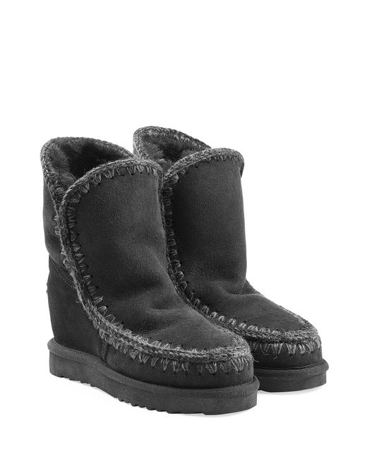 Mou | Женское Чёрный Eskimo Wedge Short Sheepskin Boots Gr. Eu