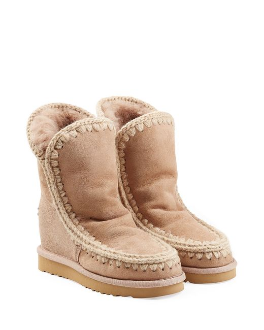 Mou | Женское Camel Eskimo Wedge Short Sheepskin Boots Gr. Eu