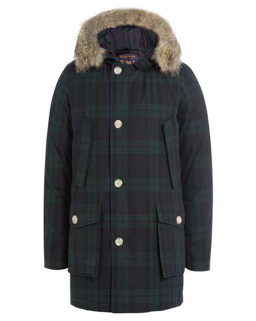 Woolrich | Мужское Зелёный Printed Down Parka With Fur Trimmed Hood