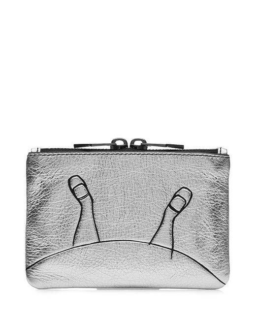 Marc by Marc Jacobs x Disney   Женское Silber Alice Mini Zipped Leather Pouch Gr. One