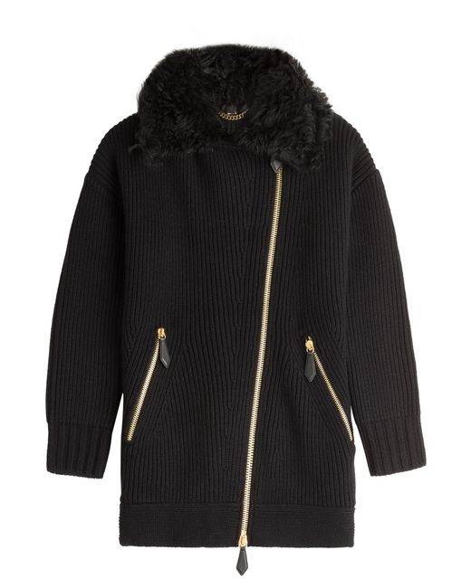 Burberry Brit | Женское Чёрный Wool-Cashmere Cardigan With Shearling Gr. S