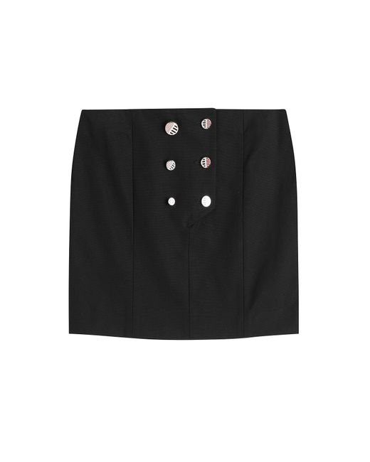 Anthony Vaccarello | Женское Schwarz Button Front Cotton Mini Skirt Gr. 34