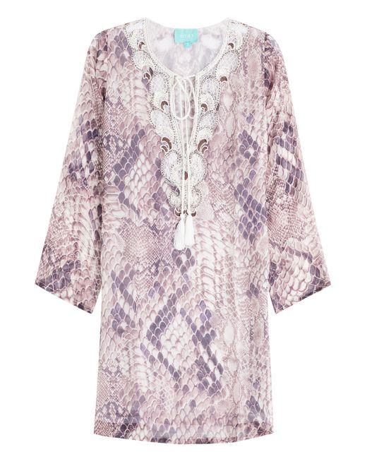Taj | Violett Printed Silk Tunic With Beading Gr. S