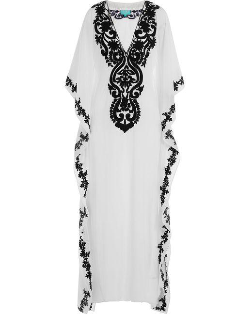 Taj | Weiß Embroidered Silk Kaftan Gr. S