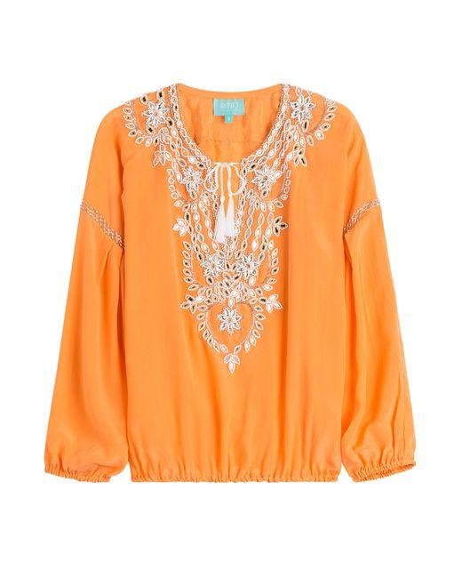 Taj | Женское Оранжевый Beaded Silk Top Gr. S