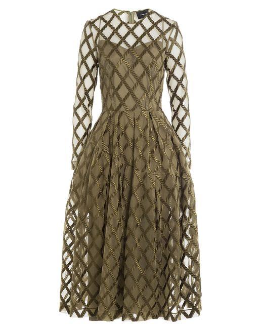 Simone Rocha | Женское Зелёный Embroidered Tulle Midi Dress Gr. Uk 8